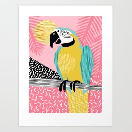 Holy Moly - memphis throwback retro neon bird macaw tropical island pop art bird watching 1980s Art Print