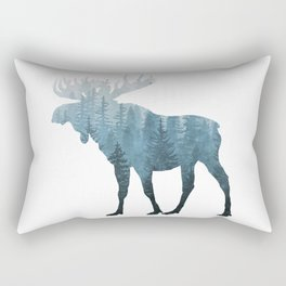 Misty Forest Moose Rectangular Pillow