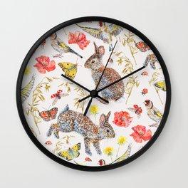 Bunny Meadow Pattern Wall Clock