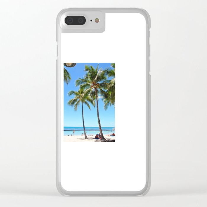 Palm Tree with Hawaii Summer Sea Beach Clear iPhone Case
