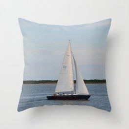 Nantucket Sail boat Throw Pillow