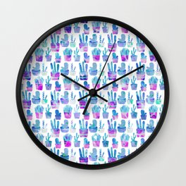 Modern hand painted pink teal watercolor cute cactus floral Wall Clock