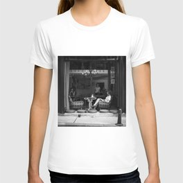 Morning coffee in a cafe - Black and white street photography T-shirt