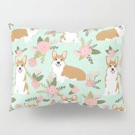 Corgi Floral Print - mint coral, floral, spring, girls feminine corgi dog Pillow Sham