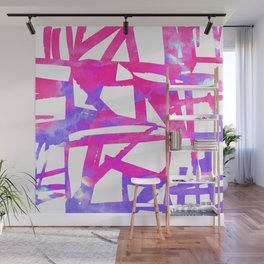 Geometrical abstract pink lavender violet watercolor pattern Wall Mural