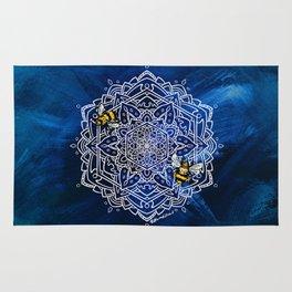 Bee Dance Mandala A - Textured Indigo Rug