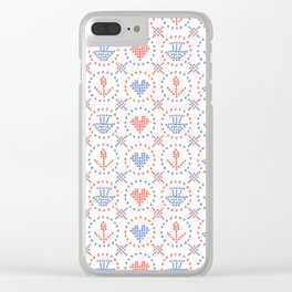 Folkloric Embroidery Sampler Stitches Seamless Vector Pattern Clear iPhone Case