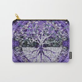 Silver Tree of Life Yggdrasil on Amethyst Geode Carry-All Pouch