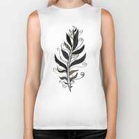 feather Biker Tanks featuring FEATHER by Nika
