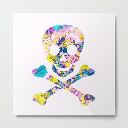 Hipster Skull Crossbones Yellow Floral Pattern Metal Print
