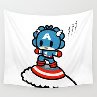 captain Wall Tapestries featuring Captain QiQi by Ziqi