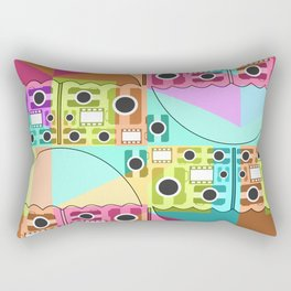 Camera pattern with colorful umbrellas Rectangular Pillow