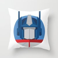 optimus prime Throw Pillows featuring Optimus Prime Dots.  by Federico Giuliani
