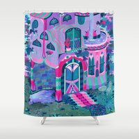 house Shower Curtains featuring Bertram's House by Valeriya Volkova