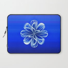 White Bloom on Blue Laptop Sleeve
