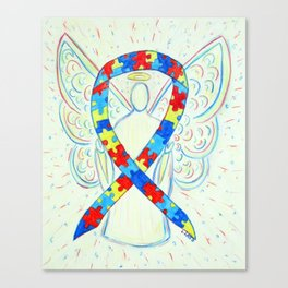 Autism Puzzle Piece Awareness Ribbon Angel Art Painting Canvas Print