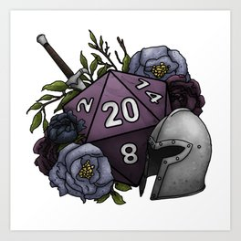 Fighter Class D20 - Tabletop Gaming Dice Art Print