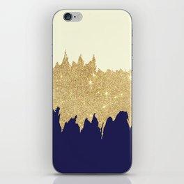 Navy blue ivory faux gold glitter brushstrokes iPhone Skin