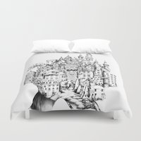 chihiro Duvet Covers featuring Island by Sandra Ink