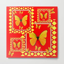 YELLOW BUTTERFLIES RED-YELLOW  PATTERNED  ART Metal Print