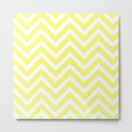 Chevron Stripes : Yellow & White Metal Print