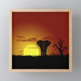 Sunset and elefant Framed Mini Art Print