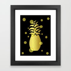 Ornate Gold Pineapple Framed Art Print