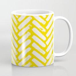 Painted Herringbone Stripe \\ Sunshine Yellow Coffee Mug