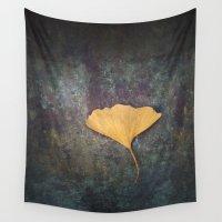 medicine Wall Tapestries featuring Ginkgo Leaf by Maria Heyens