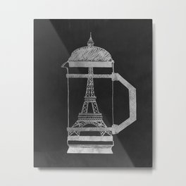 French Press... (Black & White) Metal Print