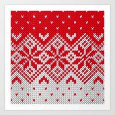 Winter knitted pattern 10 Art Print