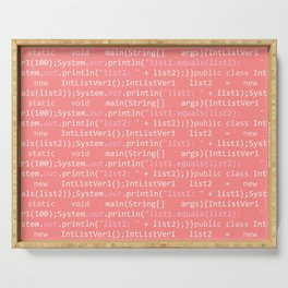 Computer Software Code Pattern in Pink Coral Serving Tray