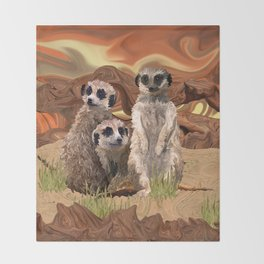 Three Meerly Meerkats  Throw Blanket