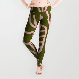 Cheerful Garden Minimalist Botanical Pattern in Pink and Olive Green Leggings