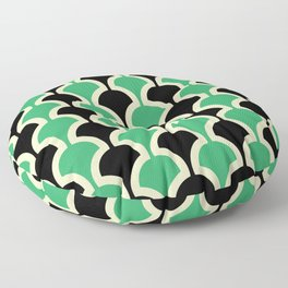 Classic Fan or Scallop Pattern 447 Black and Green Floor Pillow