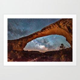 Natural Bridge and the Milky Way in Utah Art Print