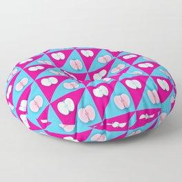Apples halves pop art pink blue Floor Pillow