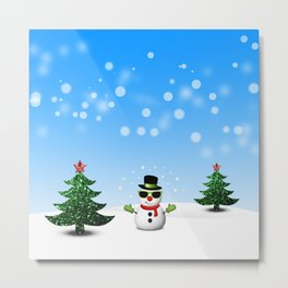 Cool Snowman and Sparkly Christmas Trees Metal Print