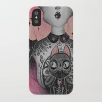 loll3 iPhone & iPod Cases featuring Black Cat by lOll3