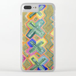 Colorful X-Pattern Clear iPhone Case