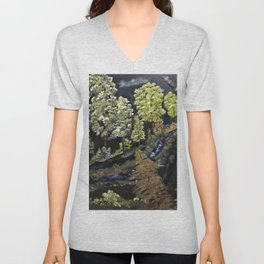 Flowing through the yellow trees Unisex V-Neck