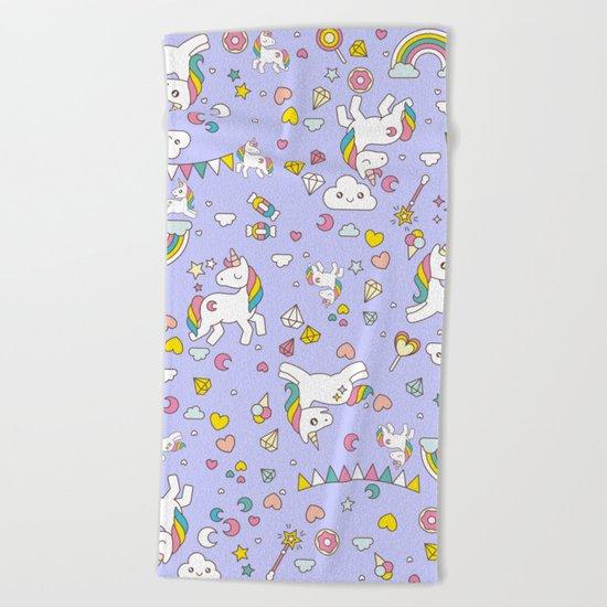 Unicorn Lilac Pattern Beach Towel