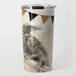 Crow, Brown Banner, Doily, Digital Design Travel Mug