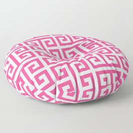 Large Pink and White Greek Key Pattern Floor Pillow