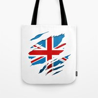 british flag Tote Bags featuring British Flag Pride by northside