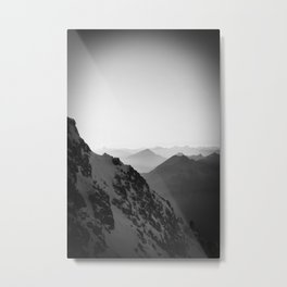 Mountain Side Black and White Photo Europe Nature Metal Print