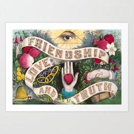 Friendship Love and Truth Vintage Illustration, 1874 Art Print