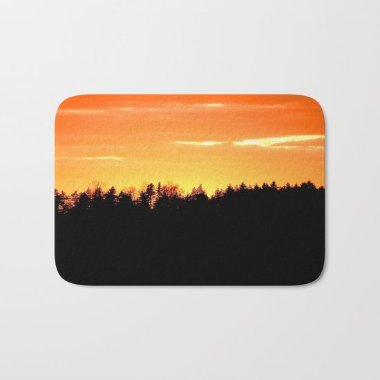 Forest Silhouette In Sunset Bath Mat