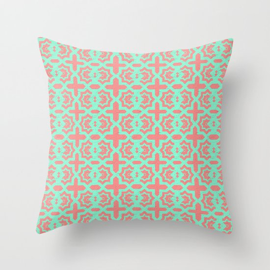 Pink And Green Pattern Throw Pillow By Debbie Espey Society6