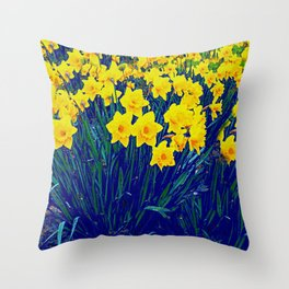 BLUE-PURPLE GARDEN OF YELLOW SPRING DAFFODILS Throw Pillow